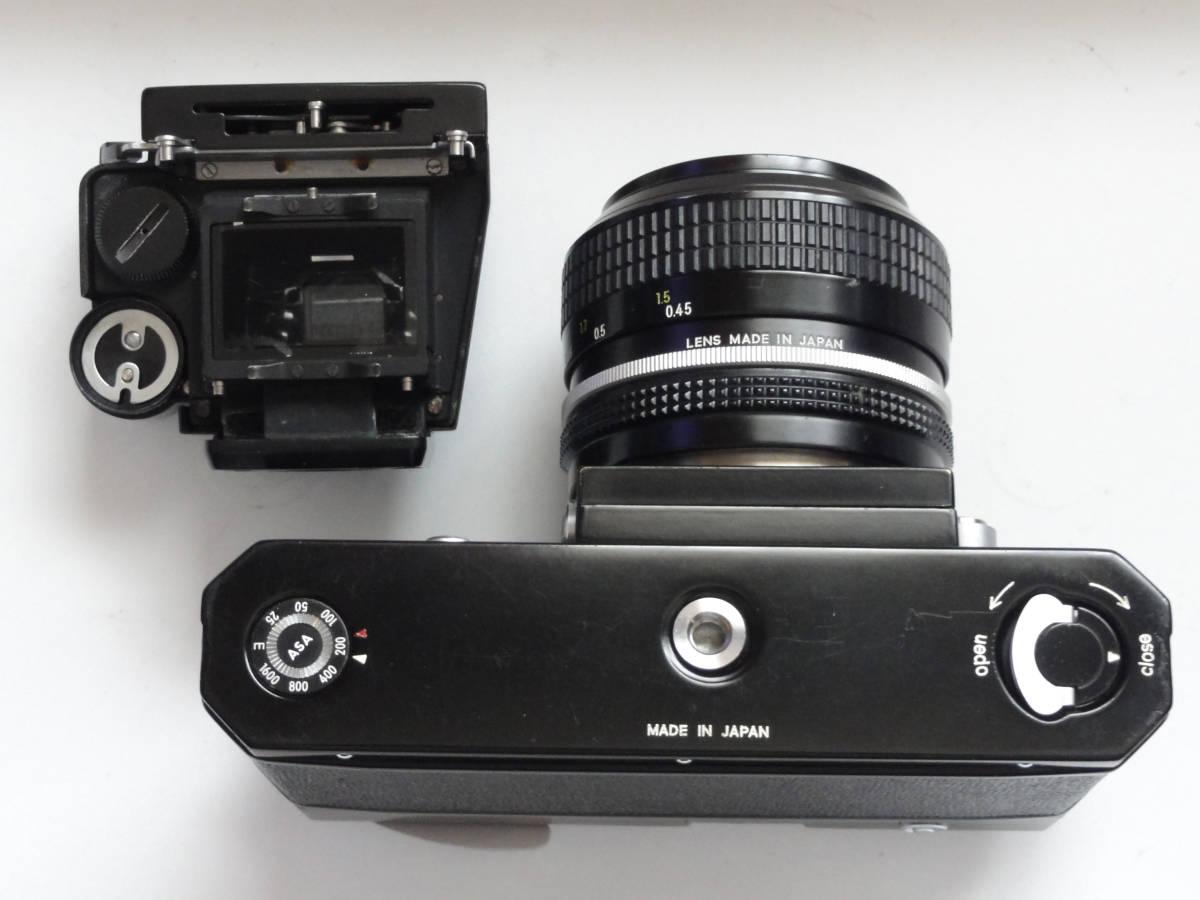 ニコンFブラックボディーフォトミックファインダーFTn付き、標準レンズの外観が大きい50mmF1.4のNikkor付き_画像4
