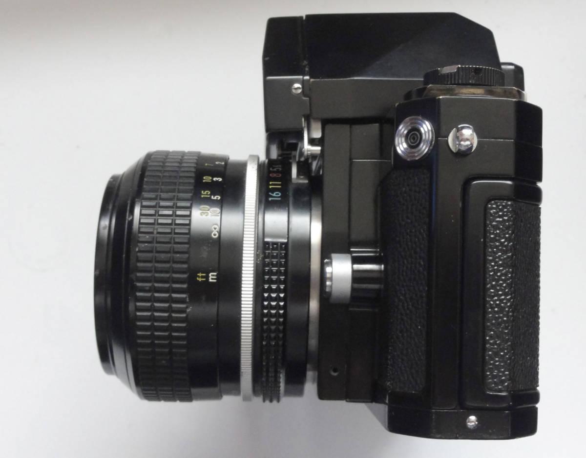 ニコンFブラックボディーフォトミックファインダーFTn付き、標準レンズの外観が大きい50mmF1.4のNikkor付き_画像5