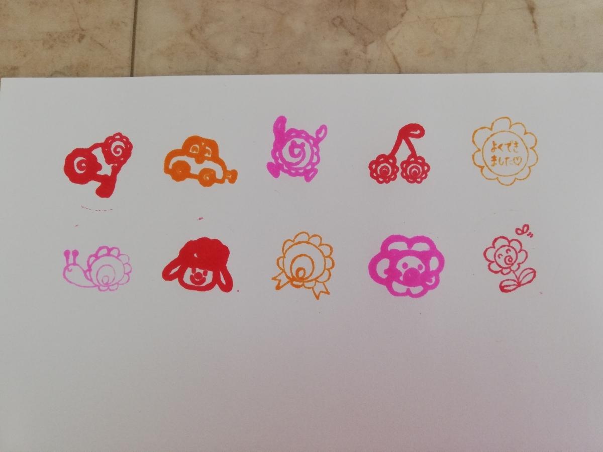 値下げ★ごほうびスタンプ ご褒美スタンプ 10個セット 印 よくできました 動物 花 虫 キャラクター 車 花丸_画像3