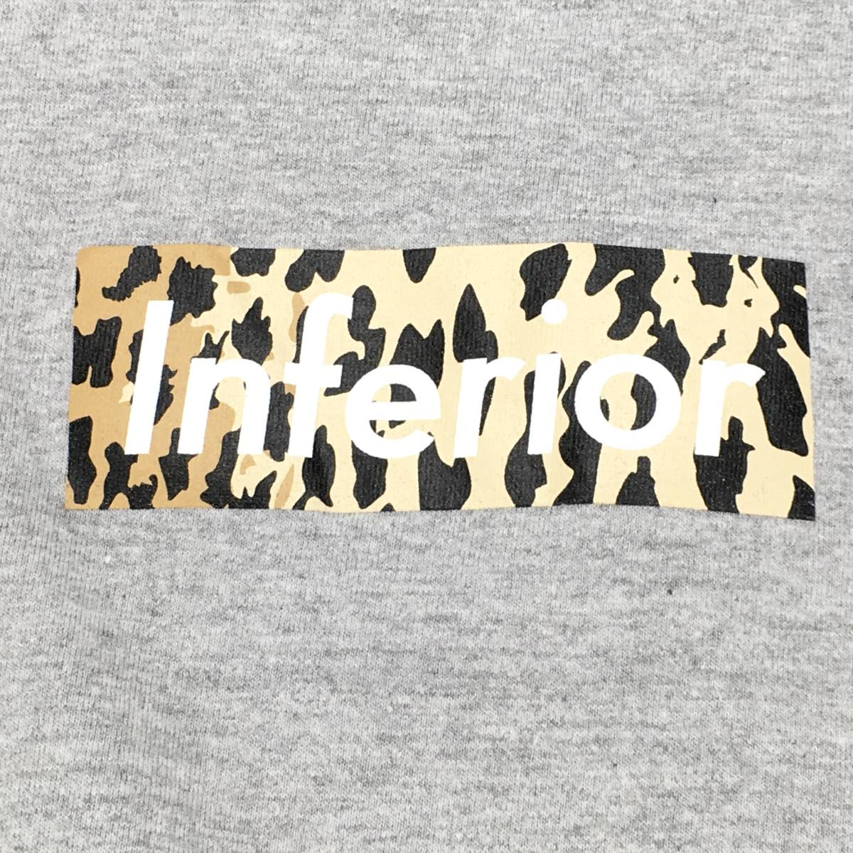希少!【MARK MCNAIRY マークマクナイリー】BOXロゴ「Inferior」半袖Tシャツ S ライトグレー 日本製_画像4
