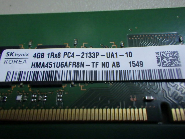SKhynix DDR4 PC4-2133P-UA1-10 4GB 1R×8 4GB×2 total 8GB *C68