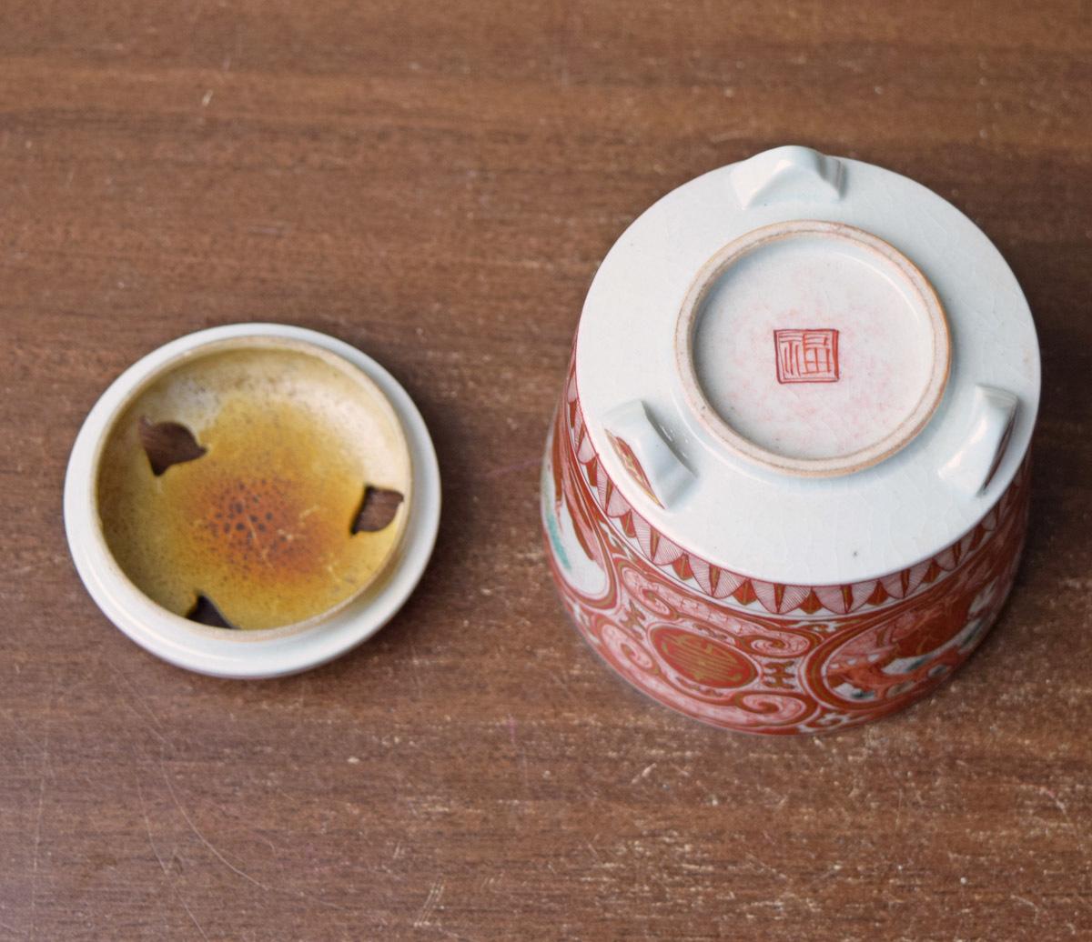 【すみれ】九谷焼金襴手唐子絵香炉★蔵出品★_画像4