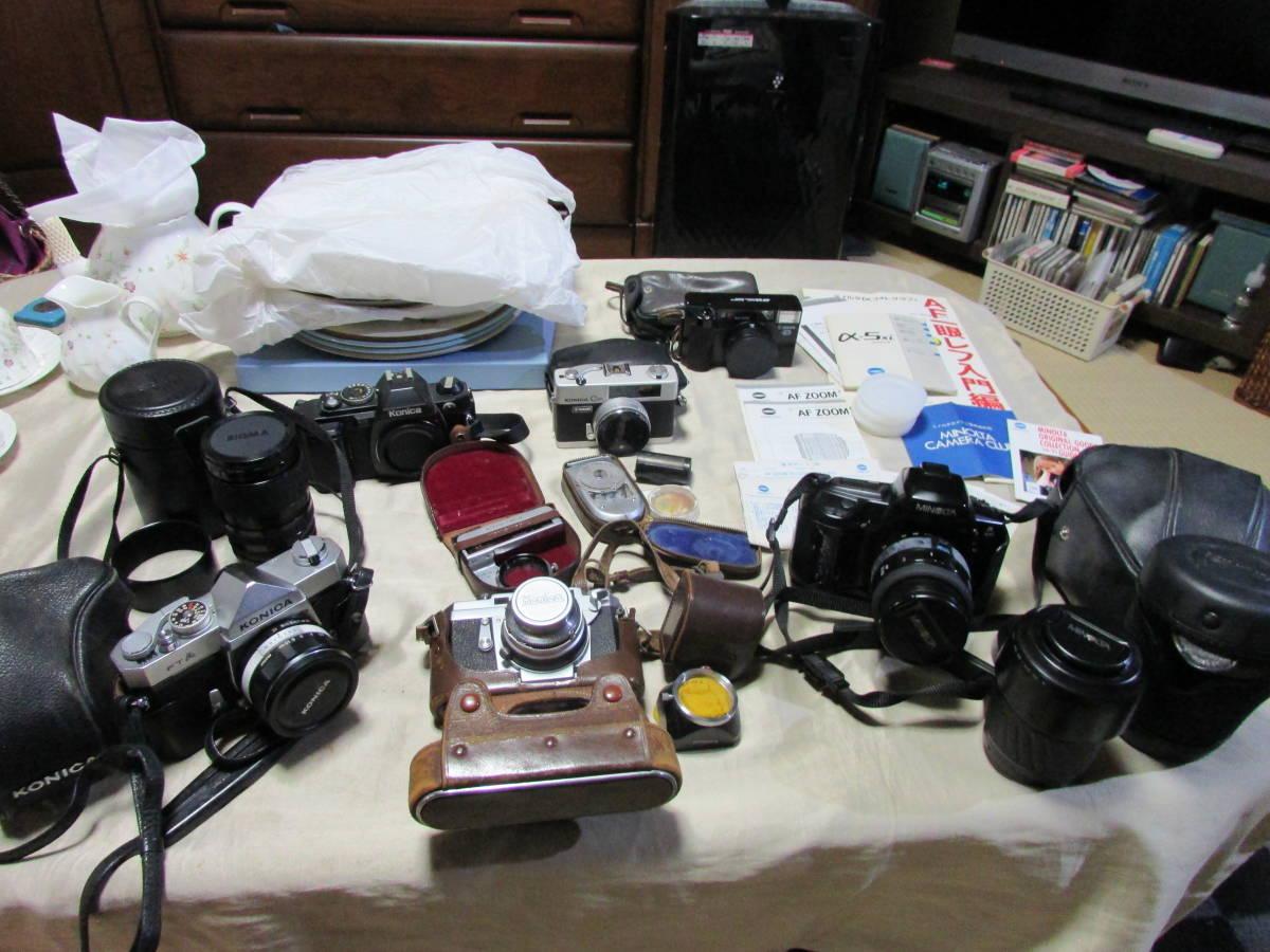 コニカ ミノルタ 一眼レフ/フィルムカメラ 色々6点 ズームレンズレンズ他備品など有り 当時物 レア?