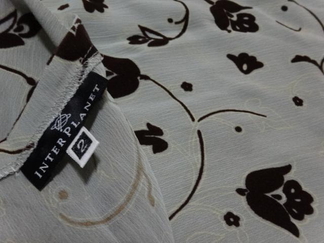 ■新品未使用 インタープラネット INTERPLANET 日本製★ 花柄フロッキー 半袖 ワンピース ブラウス シースルー 2号 Mサイズ 9号 38号_画像6