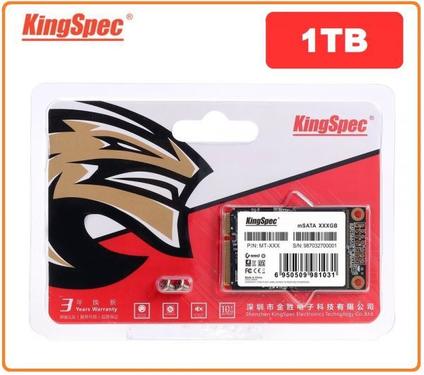 ■新品!!国内対応&90日保証■KingSpec SSD mSATA 1TB 内蔵型 MT-128 3D 高速 3D NAND TLC デスクトップPC ノートパソコン DE024_画像1