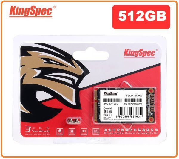 ■新品!!国内対応&90日保証■KingSpec SSD mSATA 512GB 内蔵型 MT-128 3D 高速 3D NAND TLC デスクトップPC ノートパソコン DE023_画像1