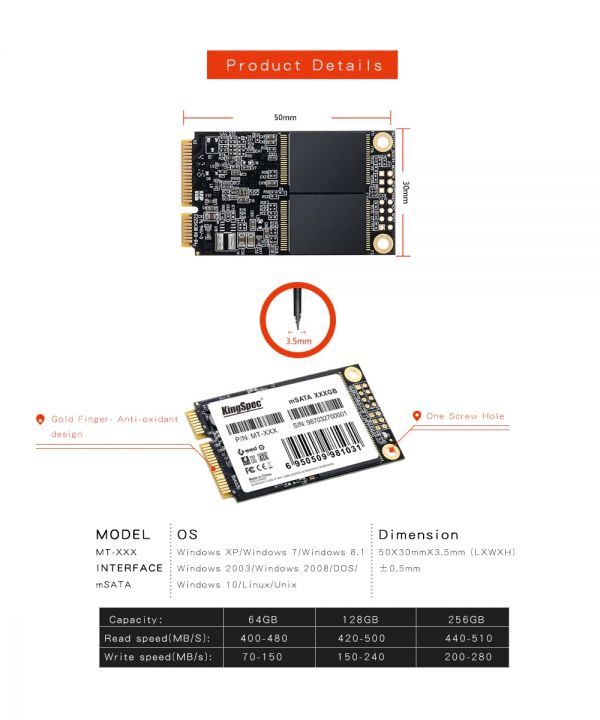 ■新品!!国内対応&90日保証■KingSpec SSD mSATA 512GB 内蔵型 MT-128 3D 高速 3D NAND TLC デスクトップPC ノートパソコン DE023_画像5