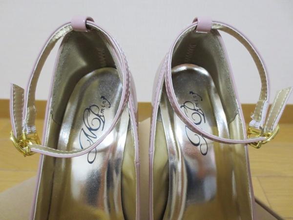 パンプス 足首ストラップ付 M(23-23.5c) ピンク エナメル ヒール13c 前底3.5c厚み_画像3
