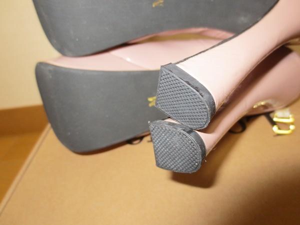 パンプス 足首ストラップ付 M(23-23.5c) ピンク エナメル ヒール13c 前底3.5c厚み_画像8