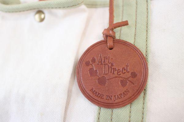 未使用 新品同様 アートディレクト 白 グリーン 茶 トートバッグ 帆布 ショルダー 2way マザーズバッグ ポケット多数 牛革使用_画像4