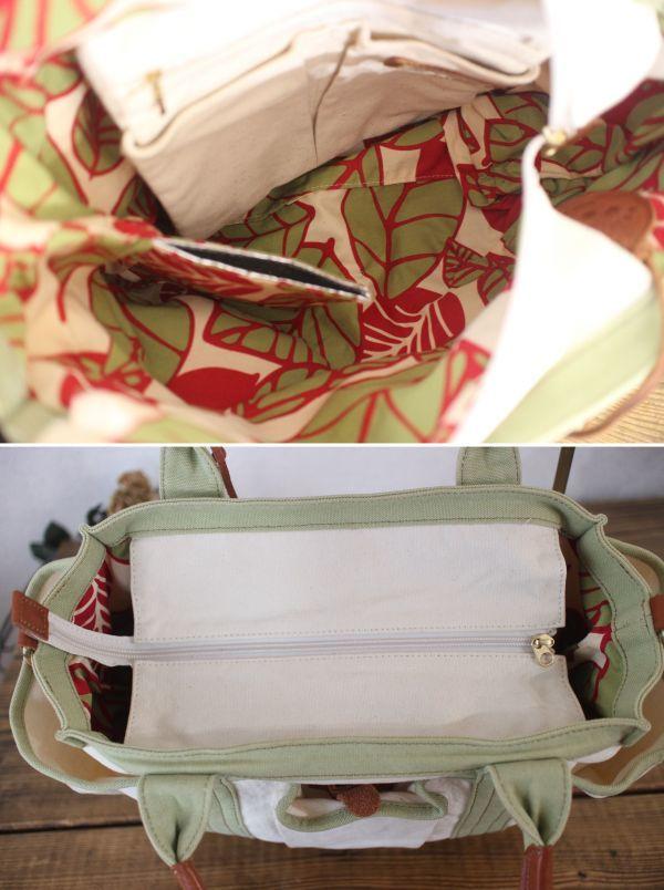 未使用 新品同様 アートディレクト 白 グリーン 茶 トートバッグ 帆布 ショルダー 2way マザーズバッグ ポケット多数 牛革使用_画像3
