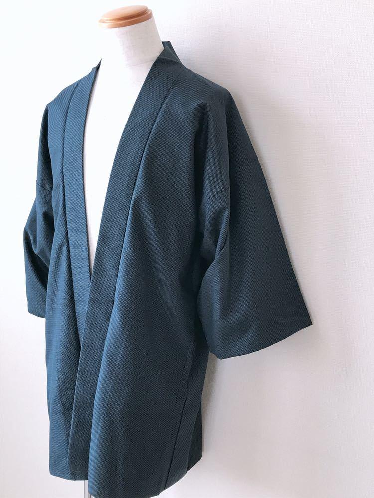 【心和】着物リメイク 龍&虎カーディガン はおりもの 紺色 作務衣風 ハーフコート 和コート 和柄 メンズL~XL ハンドメイド 一点物_画像2