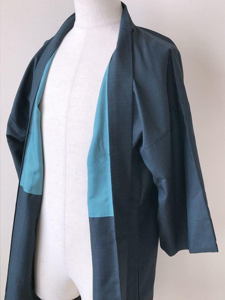 【心和】着物リメイク 龍&虎カーディガン はおりもの 紺色 作務衣風 ハーフコート 和コート 和柄 メンズL~XL ハンドメイド 一点物_画像3