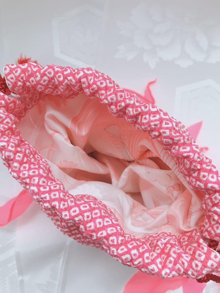 【心和】着物リメイク 金魚型和柄巾着ポーチ ピンク 絞り 和小物 浴衣に合わせて ハンドメイド 一点物_画像7
