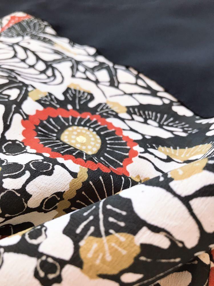 【心和】着物リメイク カチューム付半袖チュニックワンピース 植物文様和柄 レディースL ハンドメイド 一点物_画像8