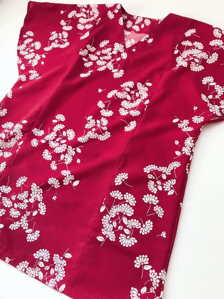 【心和】着物リメイク 大きめサイズドレスワンピース ポンチョスリーブ 紅色 春夏 和柄 和布 LL~5L ハンドメイド 一点物_画像5