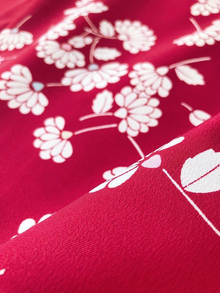 【心和】着物リメイク 大きめサイズドレスワンピース ポンチョスリーブ 紅色 春夏 和柄 和布 LL~5L ハンドメイド 一点物_画像6