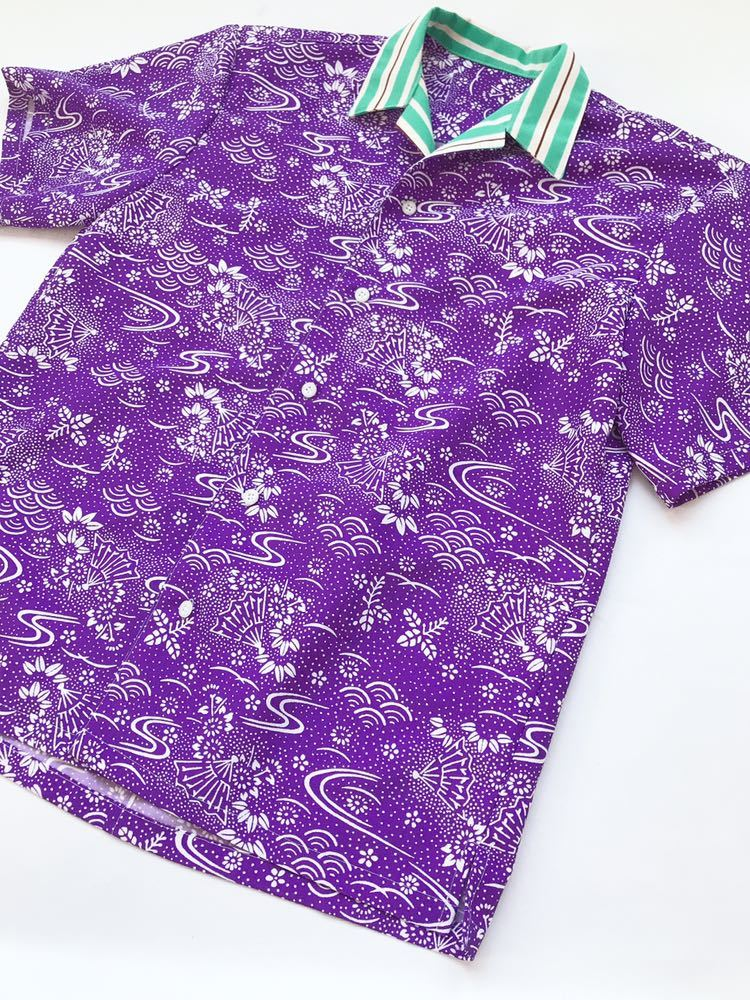 【心和】着物リメイク 新作セットアップ アロハシャツ&ハーフパンツ 吉祥文様 ストライプ 紫 緑 メンズL~XL ハンドメイド 一点物_画像4