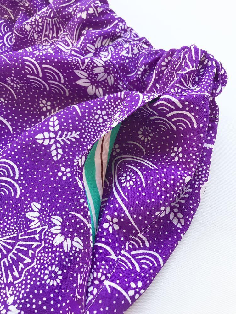 【心和】着物リメイク 新作セットアップ アロハシャツ&ハーフパンツ 吉祥文様 ストライプ 紫 緑 メンズL~XL ハンドメイド 一点物_画像8