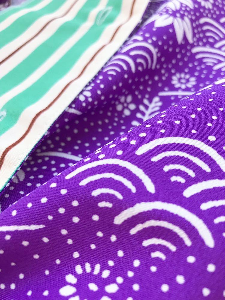 【心和】着物リメイク 新作セットアップ アロハシャツ&ハーフパンツ 吉祥文様 ストライプ 紫 緑 メンズL~XL ハンドメイド 一点物_画像9