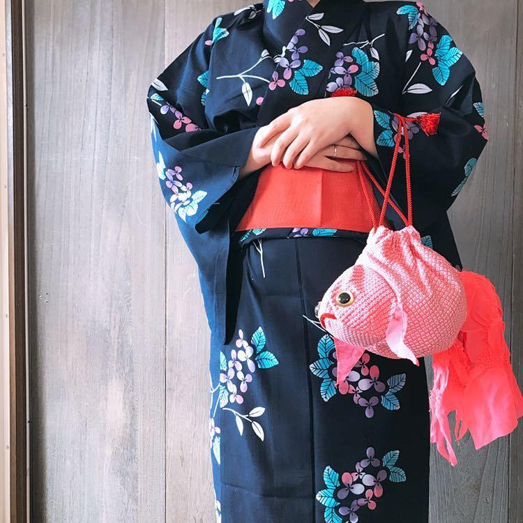 【心和】着物リメイク 金魚型和柄巾着ポーチ ピンク 絞り 和小物 浴衣に合わせて ハンドメイド 一点物_画像9