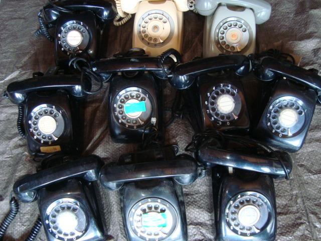 ☆★ai 昭和レトロ ダイヤル式 黒電話 大量10台まとめてセット