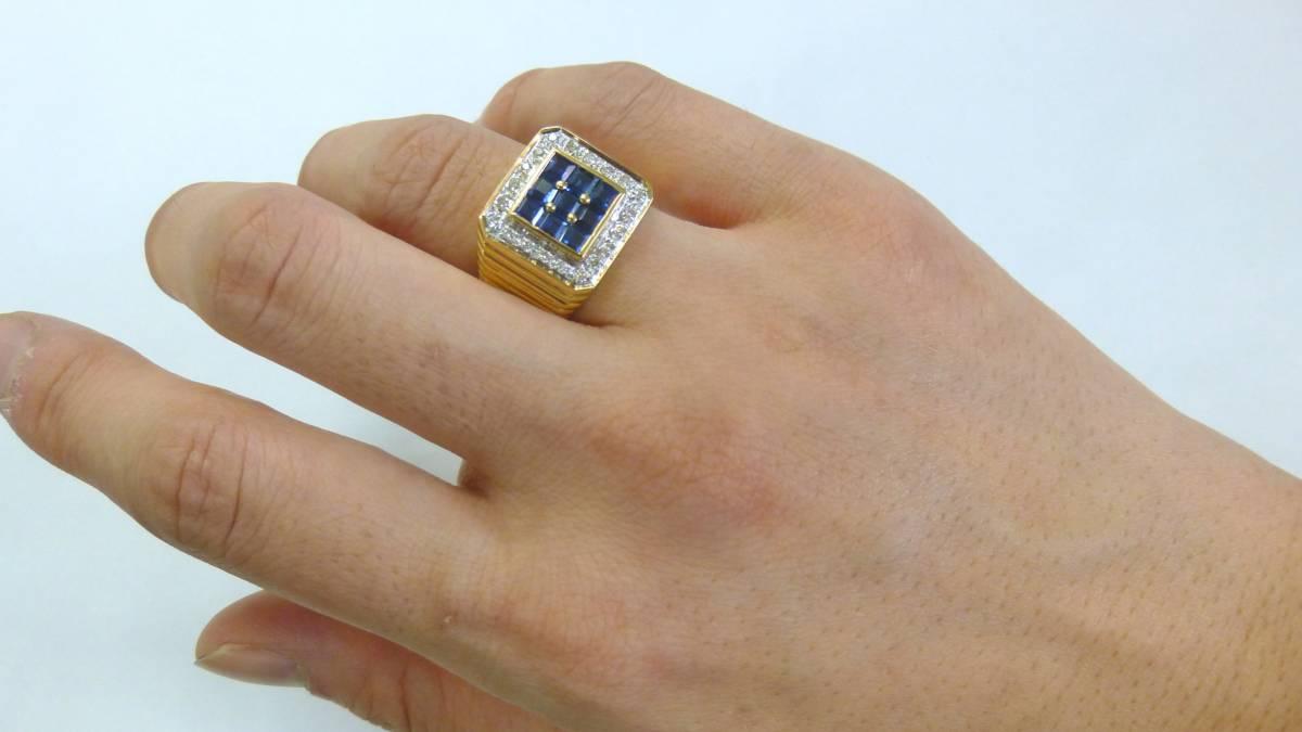 18号 18金 ダイヤ 0.16ct サファイヤ 1.48ct 印台 リング k18 サファイア 指輪_画像1