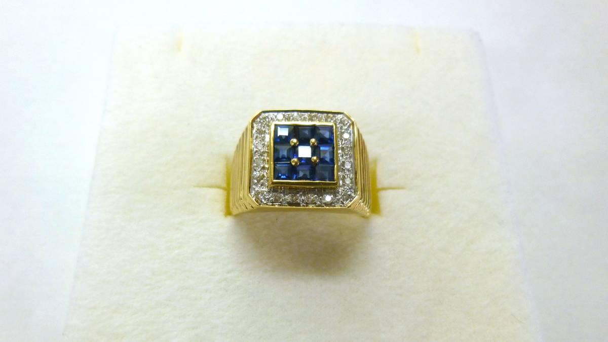 18号 18金 ダイヤ 0.16ct サファイヤ 1.48ct 印台 リング k18 サファイア 指輪_画像2
