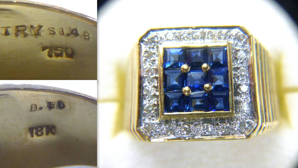 18号 18金 ダイヤ 0.16ct サファイヤ 1.48ct 印台 リング k18 サファイア 指輪_画像4