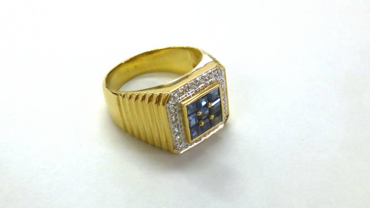 18号 18金 ダイヤ 0.16ct サファイヤ 1.48ct 印台 リング k18 サファイア 指輪_画像6