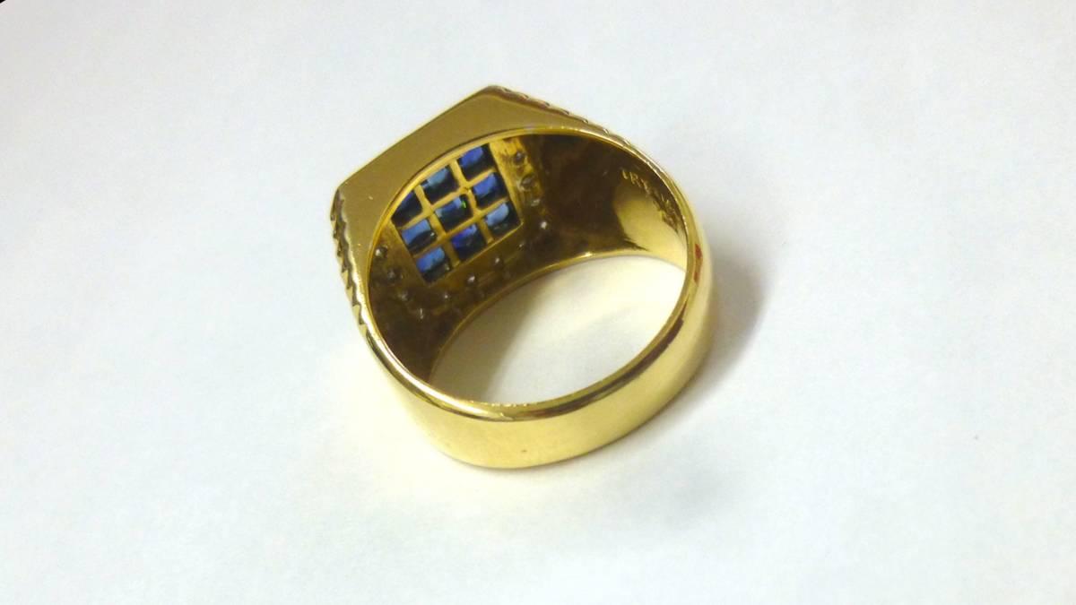 18号 18金 ダイヤ 0.16ct サファイヤ 1.48ct 印台 リング k18 サファイア 指輪_画像7