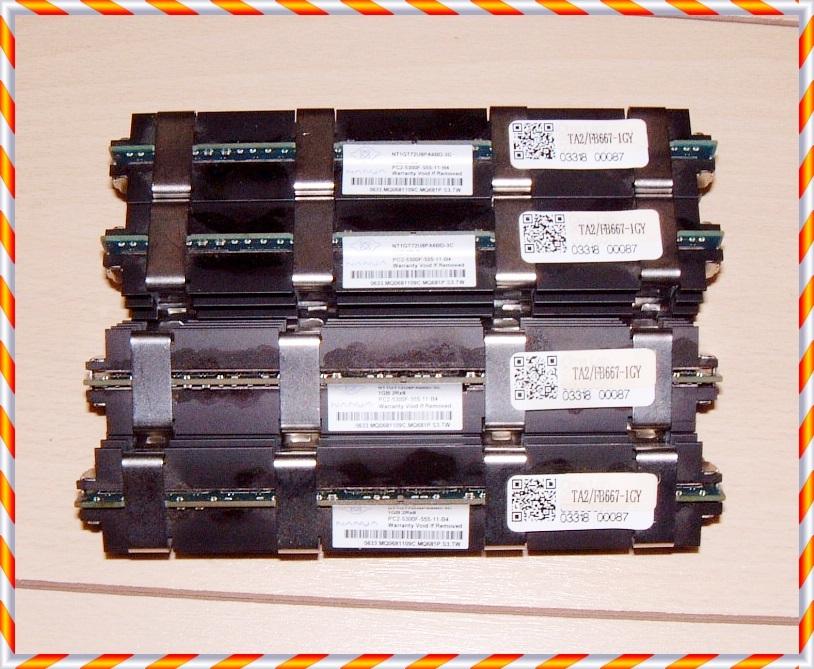 ①動作品 MACPRO用DIMM◆NANYA DDR2-667/PC2-5300 1GB×4枚 計4GB FB-DIMM TA2/FB667-1GY 2006、2008などに