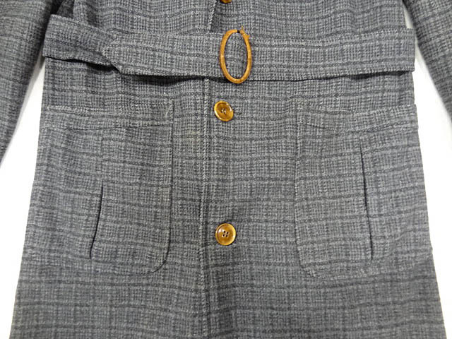 ビンテージ STRATBURY 40S 50S 希少 珍品 ウール スモーキング テーラード ジャケット デザイン ベルト コート 黒 灰 チェック 総柄 レア _画像4