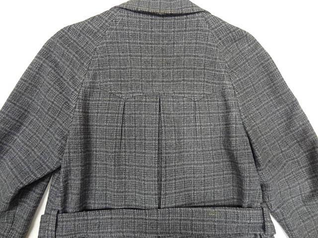 ビンテージ STRATBURY 40S 50S 希少 珍品 ウール スモーキング テーラード ジャケット デザイン ベルト コート 黒 灰 チェック 総柄 レア _画像5