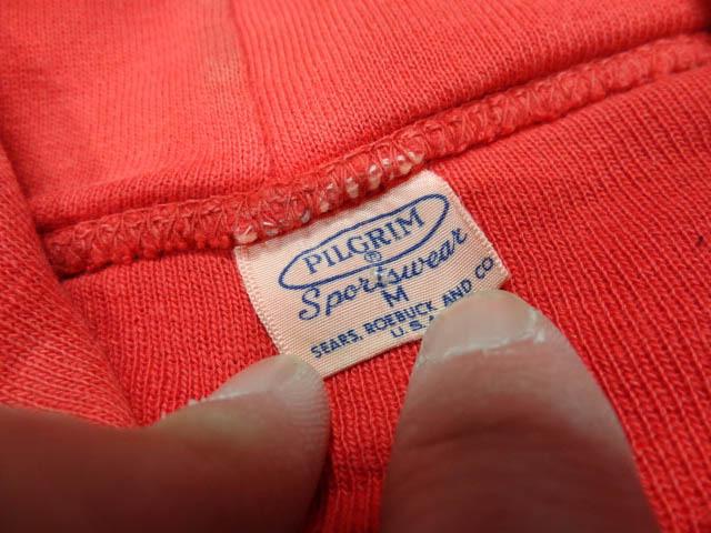 ビンテージ PILGRIM ピルグリム シアーズ 50S 60S 超 珍品 変形 裾 リブ なし デザイン 赤 プルオーバー パーカー アジ 雰囲気 レッド 希少_画像5