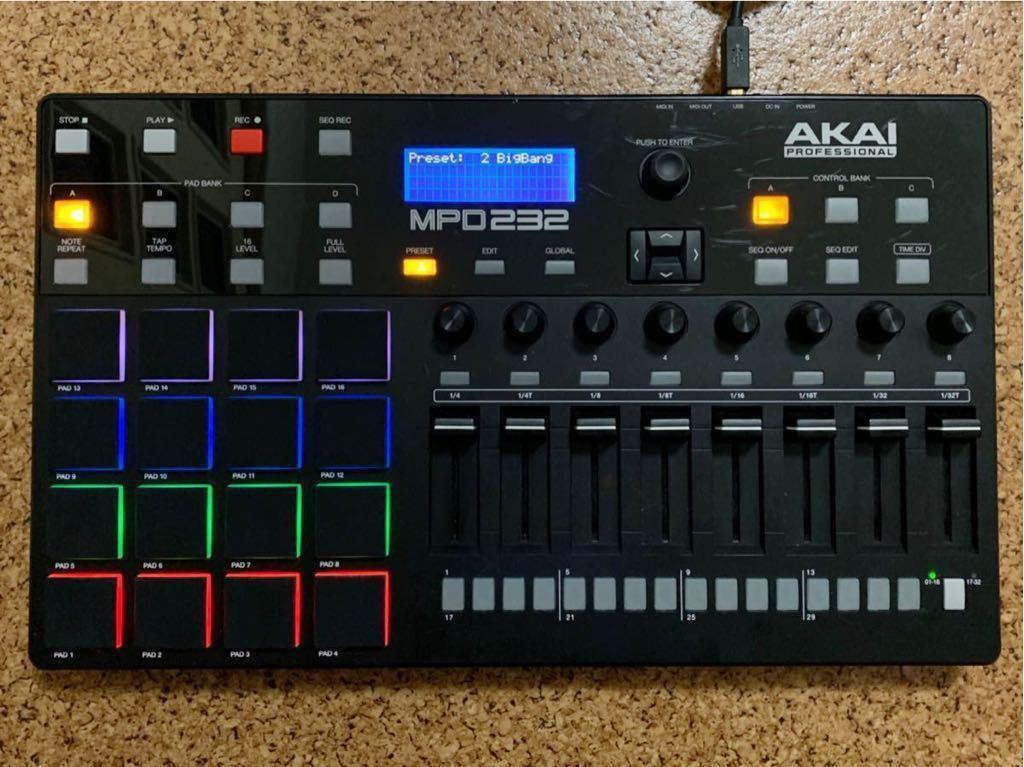 【中古】AKAI MPD232 MIDIコントローラー パッドコントローラー フェーダー シーケンサー(検:MPD218/MPD226/MPC)