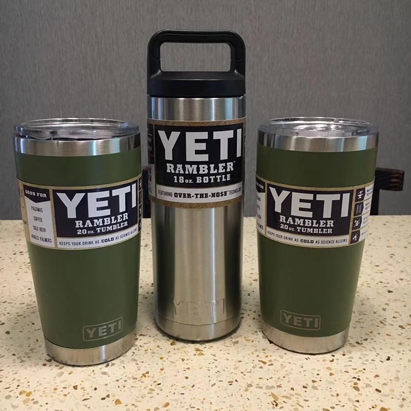 3個組YETI 1個18oz & 2個20oz green真空断熱 保温/冷 タンブラー★イエティ RAMBLER Bottle Tumbler ミリタリー水筒304食用ステンレス