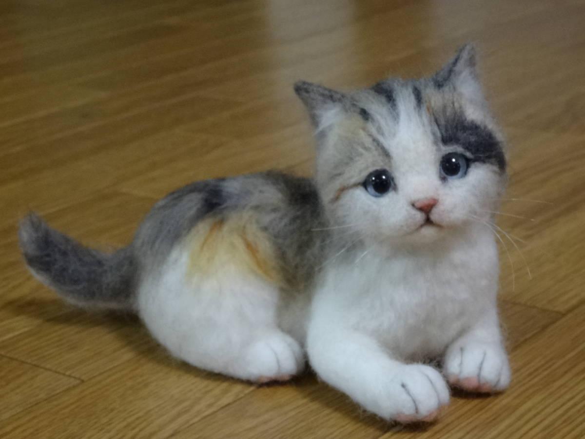 羊毛フェルト*猫*三毛猫*パステル三毛*仔猫*ハンドメイド