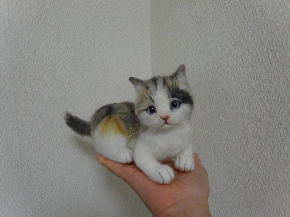 羊毛フェルト*猫*三毛猫*パステル三毛*仔猫*ハンドメイド_画像3