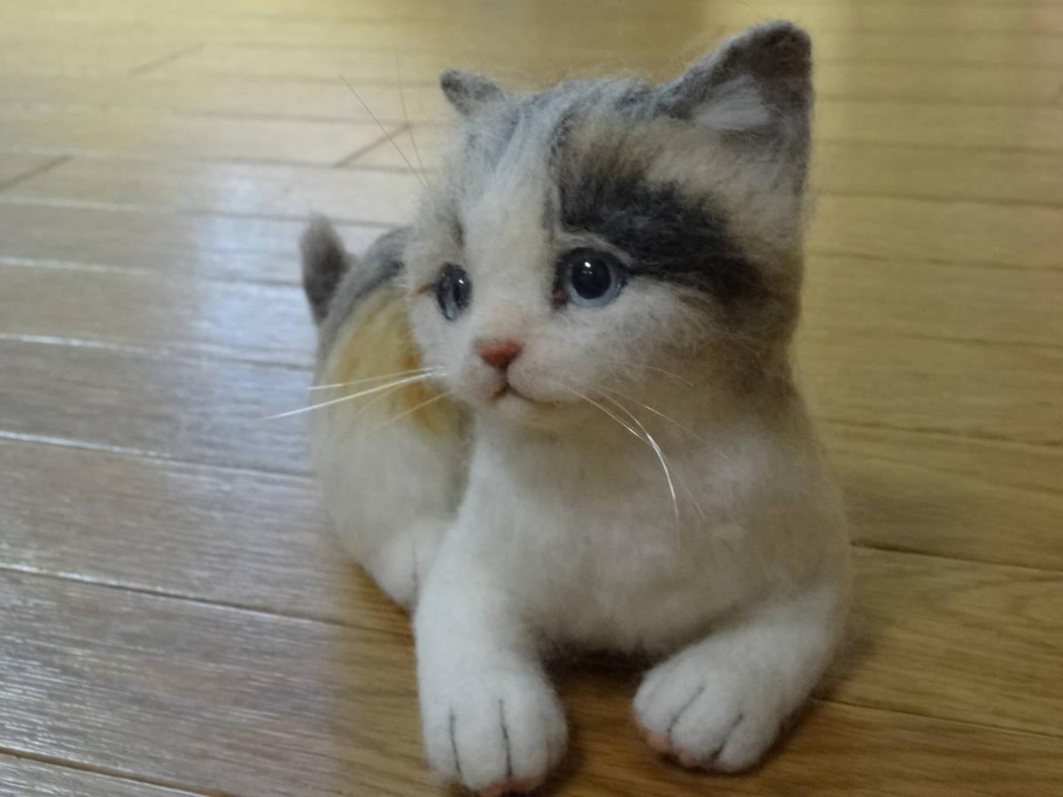 羊毛フェルト*猫*三毛猫*パステル三毛*仔猫*ハンドメイド_画像4