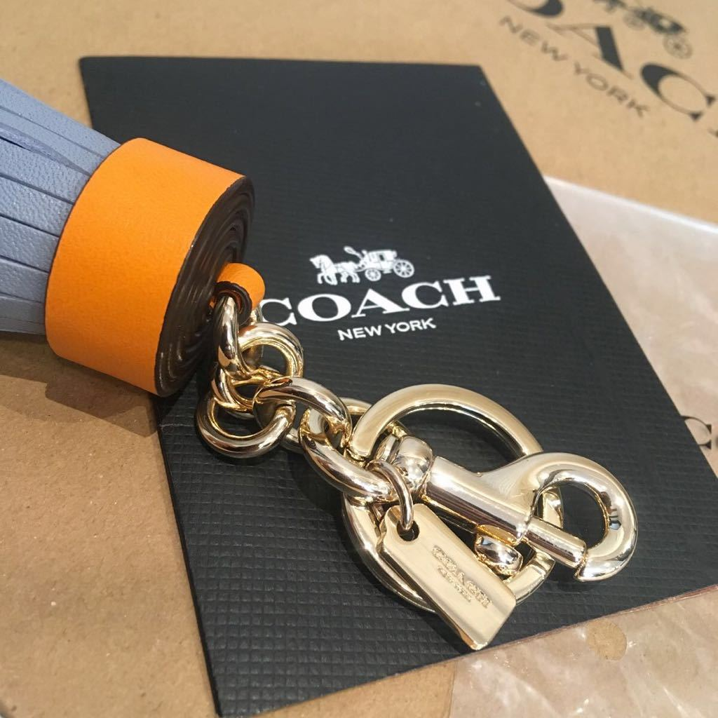 1dcc9e032024 未使用 COACH コーチ キーリング キーホルダー タッセル オレンジ×ブルー系_画像3