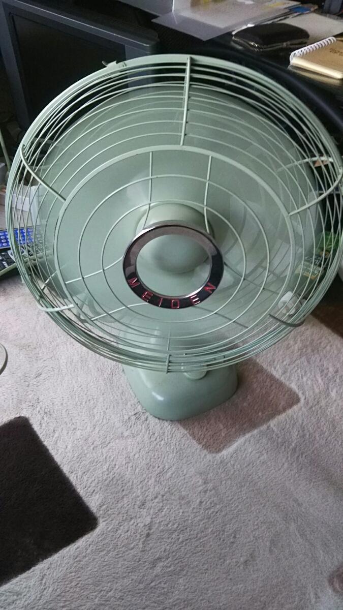 明電舎 MEIDEN 扇風機 DZ-308A 昭和レトロ アンティーク 美品 山梨 緑 ライムグリーン_画像2