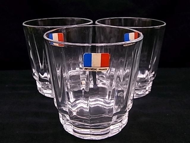 e1129 アルコロック arcoroc FRANCE タンブラーグラス コップ 3客 USED_画像1