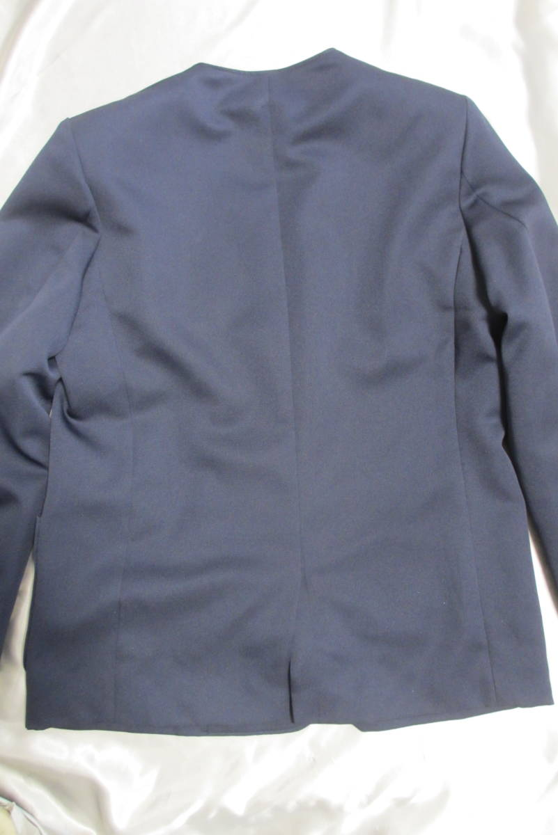 小中学生制服 イートンタイプ ダブル ブレザー ジャケット 男女兼用 紺 ネイビー 165A 美品_画像3
