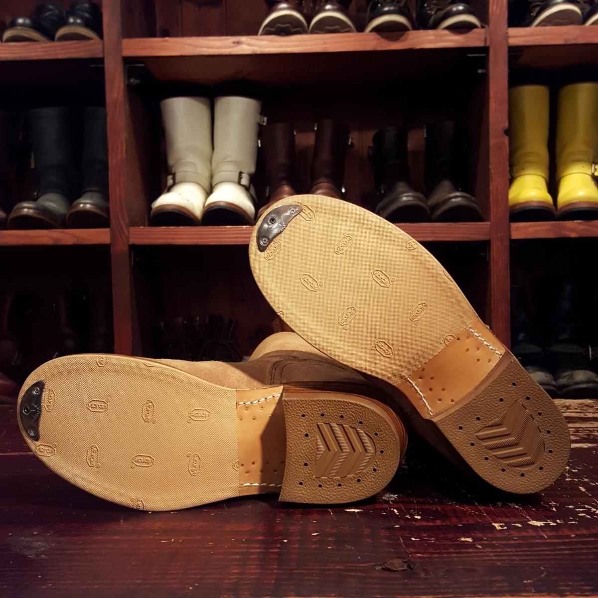 売り切り フルカスタム VIBERG スエード ラフアウト エンジニア ブーツ 27.5cm ベージュ シルバー 925 バックル ヴィンテージソール 1点物_画像7