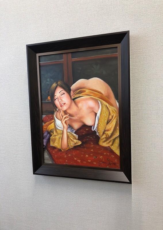 油絵 人物画『喘ぎ(あえぎ)』Jenny.Y作 肉筆1点物 女性 裸婦 ヌード セクシー 美女 J3-2.19-AN7_画像4