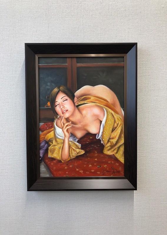 油絵 人物画『喘ぎ(あえぎ)』Jenny.Y作 肉筆1点物 女性 裸婦 ヌード セクシー 美女 J3-2.19-AN7_画像3