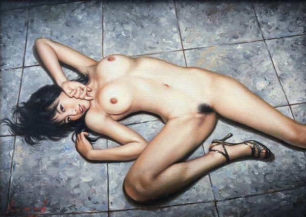 油絵 人物画『ドラマ』Kath作 肉筆1点物 女性 裸婦 ヌード セクシー 美女 R3.19-AN2_画像2