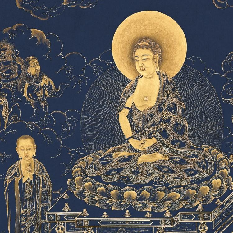 【仏教の珍品】 仏画 丁観鵬《無量寿仏図》掛軸 紙本 絵心_画像2