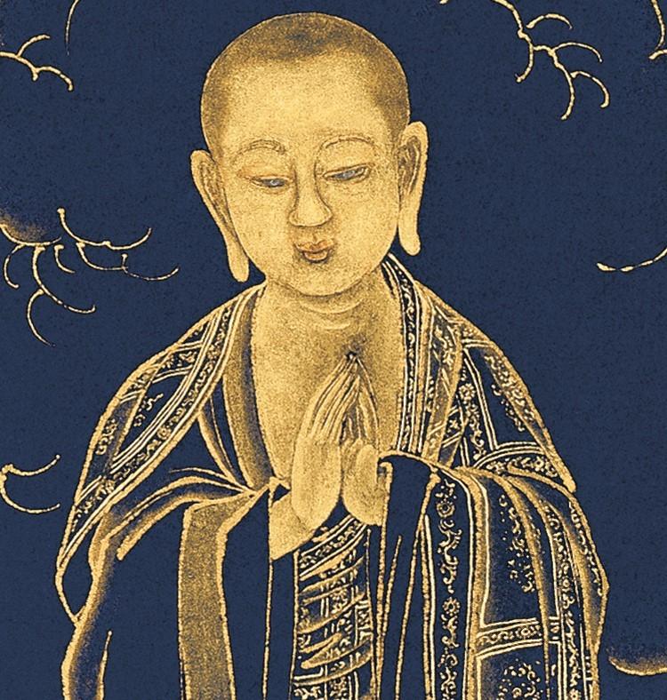 【仏教の珍品】 仏画 丁観鵬《無量寿仏図》掛軸 紙本 絵心_画像3